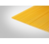 Сотовый поликарбонат КОЛИБРИ 8,0x2100x12000 желтый 70%